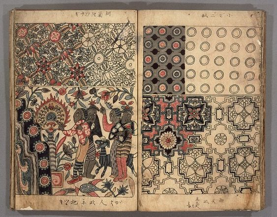 Sarasa (chintz) patterns description notes that are imagined from the Dutch imported Indian/South-East Asian printed cloth in Japan. (digital archive, National Library Japan)